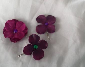 Hydrangea bobby pin, hair accessory