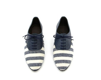VEGAN Oxford shoes,Flats, Andy, Blue Leather Or Vegan Leather and Striped Print Fabric Women's shoes. FREE SHIPPING to the U.S. and Canada