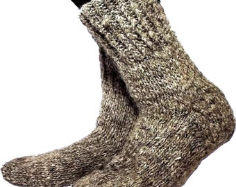 Warm socks 28-30 cm - foot length 11-11.8 inches, grey sheep wool. For fishing, hunting, tourism, work, wear boots or simply at home