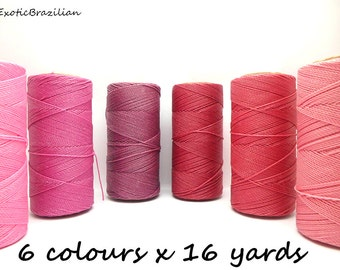 Waxed polyester cord, set of 6 colours x 16 yards, pink, pastel pink, fuscia, azalea, bright pink, baby pink, barbie pink, bubblegum, rose