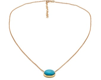 Tousi Jewelers Turquoise Pendant Necklace - Solid 14k Yellow Gold- Oval Stone for Gift - December Birthstone
