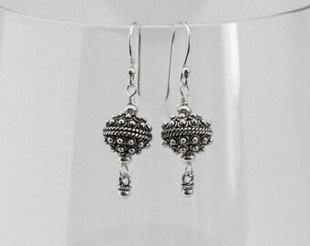 Sterling Silver Earrings, Bali Beads, Turkish Silver, Silver Dangles, Silver Bead Earrings, Oxidized Silver Balls, Bali Bead Earrings