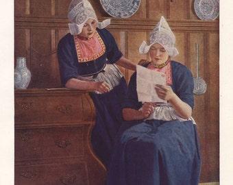 Dutch women in traditional dress, original 1930 print - Volendam, Holland, folk - 85 years old antique lithograph illustration (A420)
