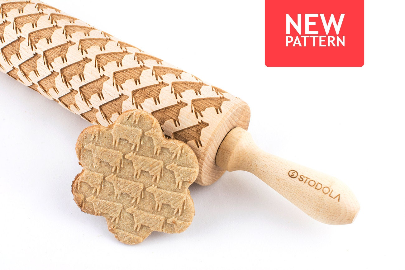 Rolling pin ornament - Cow Embossed Engraved Rolling Pin For Cookies