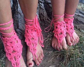 Barefoot sandals. Kids Coralbarefoot, Mommyandme Sandals, beach crochet sandals accessory foot sandals gypsy sandals ankle foot sandals