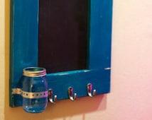 Chalkboard, Coat Rack Organizer, Mason Jar, Key Hooks, Jewelry Hanger, Mason jar, Flower Vase,  Beautiful,Chic, Home Decor, Gift, Handmade