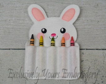 READY TO SHIP Bunny Crayon Holder, Toddler Arts and Crafts, Back To School, Travel Case