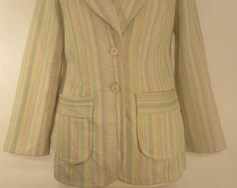Vintage charming striped jacket, 1970s. UK size 12, US 10, EU 40.