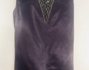 Vintage black French satin sleeveless top, striking floral 'V' shaped beading. Fully lined, 1970s. UK size 14, US 12, EU 42.