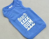 Beach Summer Dog Tanks for Dog Lovers. Beach Bum with Waves Small Dog Shirt. Small Pet Clothes. Gift for Pet Lover.