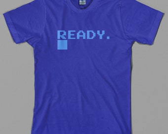 Commodore T Shirt  - c64, micro computer, ready, logo, defunct, retro, pc, videogame, pixel - All sizes & colors available