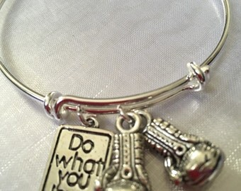 "boxer boxing gloves bracelet with stamped ""do what you love"" charms"
