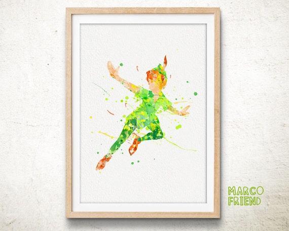 disney peter pan wall art watercolor art poster print home nursery decor peter pan decor peter pan nursery fairy