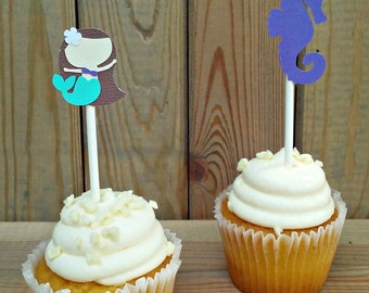 Mermaid Cupcake Toppers - party supplies - under the sea