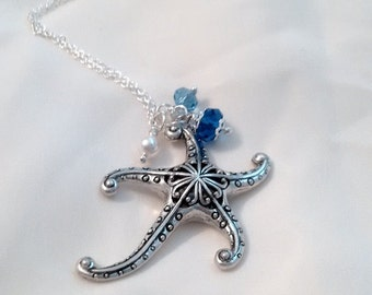 Star Fish Necklace - Starfish Pendant Crystal Pearl Necklace - Star of the Sea Necklace - Ocean Necklace -