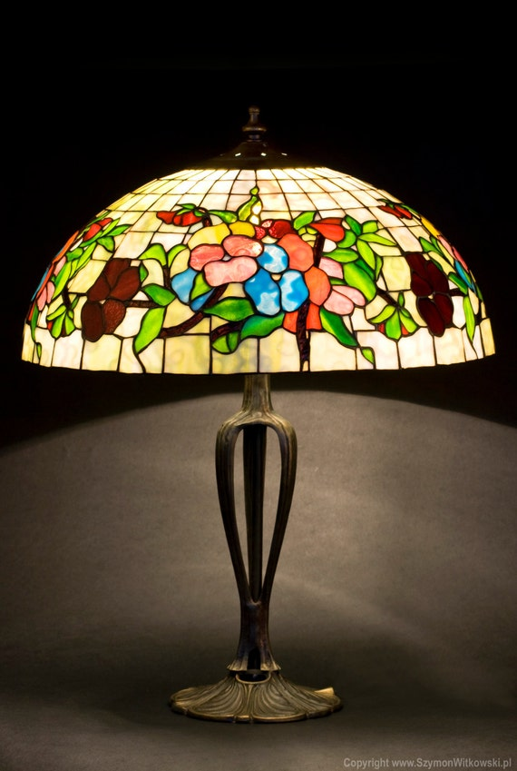 Table Lamp, Pansy, Stained Glass Lamp, Desk Lamp, Nightstand Lamp, Bedside Lamps, Library Lights, Reading Lamp, Light Fixture, Stained Glass