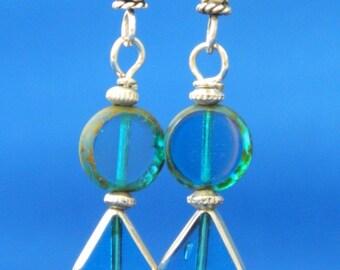 Glass Dangle earrings Turquoise Blue