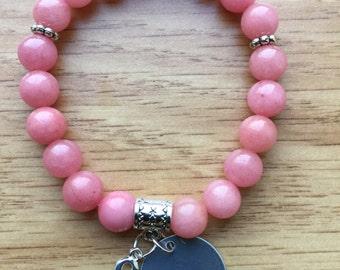 Hope Bead Bracelet, Breast Cancer, Survivor, Pink (LL45)