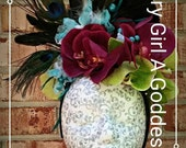 PIF - Vintage Inspired Floral Headpiece Peridot Merlot Chartreuse Aqua Turquoise Peacock Flowers, Feathers