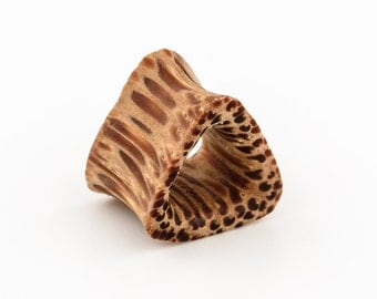 "Coco Wood 2g 0g 00g 000g 3/4"" 11/16"" ear tunnel. plugs. triangle plug. plugs gauges. tunnels. tunnel plug. gauge jewelry. gauges."