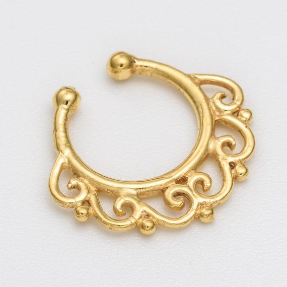 Fake Septum Ring. gold septum ring. indian septum ring. septum piercing. septum jewelry. fake septum ring. faux septum ring. gold septum.