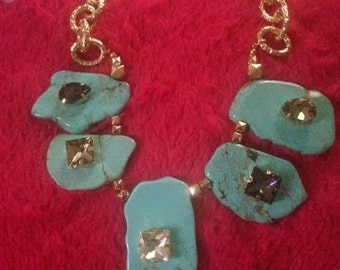 Turquoise Necklace- Semi Precious Gemstones-Adjustable Chain 18 to 23 inches