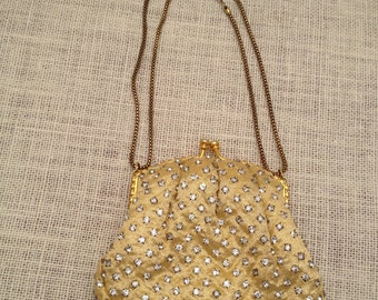 Gold Lame And Rhinestone Evening Bag By Walborg Yellow Satin Lined
