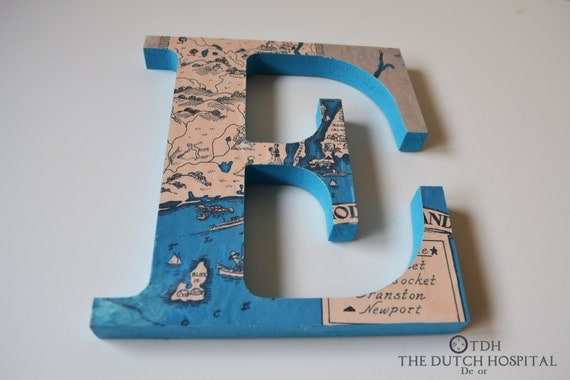 Vintage Map Letters Travel Theme Wall Letters Wooden Map
