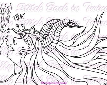 Digital stamp colouring image - Sleeping Beauty . jpeg / png