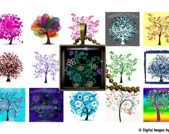 "Colorful Trees Digital Collage Sheet 1"" square, Printable, Download for Jewelry Making, Bottlecaps, Pendants, Bezel Tray, Pinbacks, Cabochon"