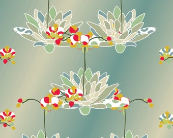 Orchid and water lilly digital  pattern