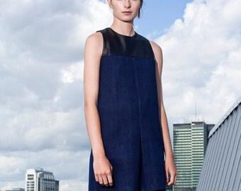 denim leather dress / shift dress / mini denim dress / leather dress / sleeveless dress / a line dress /  modern dress