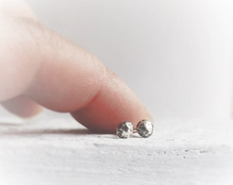 itty bitty studs silver moon oxidized sterling silver tiny small minimalist ball studs modern faceted