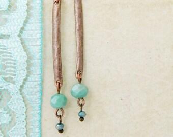 Mint Long Earrings Mint Stick Earrings Mint Earrings Rustic Earrings Copper Earrings Mint Dangle Earrings Blue Earrings Gift for Girlfriend