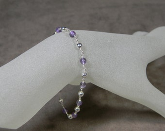 Sterling Silver and Genuine Amethyst Bead Layering Bracelet - 7 1/2""