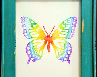 Framed Watercolor Butterfly Painting - Rainbow Colors
