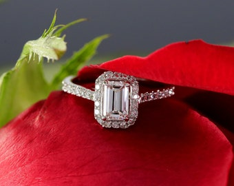 14K White Gold Emerald Cut Diamond Halo Engagement Ring comes with GIA Certificate, Natural Diamond F/VS2 0.70cts
