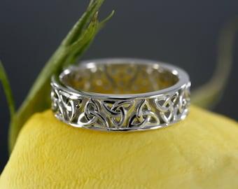 14k White Gold Celtic Wedding Band Celtic Ring Eternity Wedding Band Available In