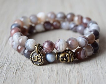 Botswana agate bracelet, yoga bracelet, mala beads, spiritual jewelry, stackable meditation bracelet, love and healing, Goal achieving