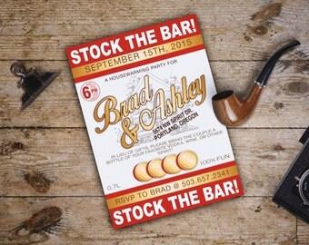 Stock the Bar House warming Party Invite; Vodka Stoli Theme; Downloadable Custom PDF