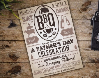 Fathers Day / BBQ Invite; Vintage; Summer; Neutral; Beer; Downloadable Custom PDF