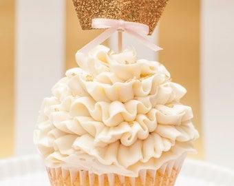 Princess Crown Cupcake Toppers In Gold Glitter set of 12