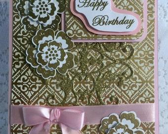 Birthday, Elegant, Handmade, Cardstock, Greeting Card,   Envelope