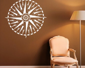 Compass Rose Wall Decal Nautical Compass Vinyl Sticker Navigation Tool Home Interior Design Art Wall Murals Bedroom Decor (6c01s)