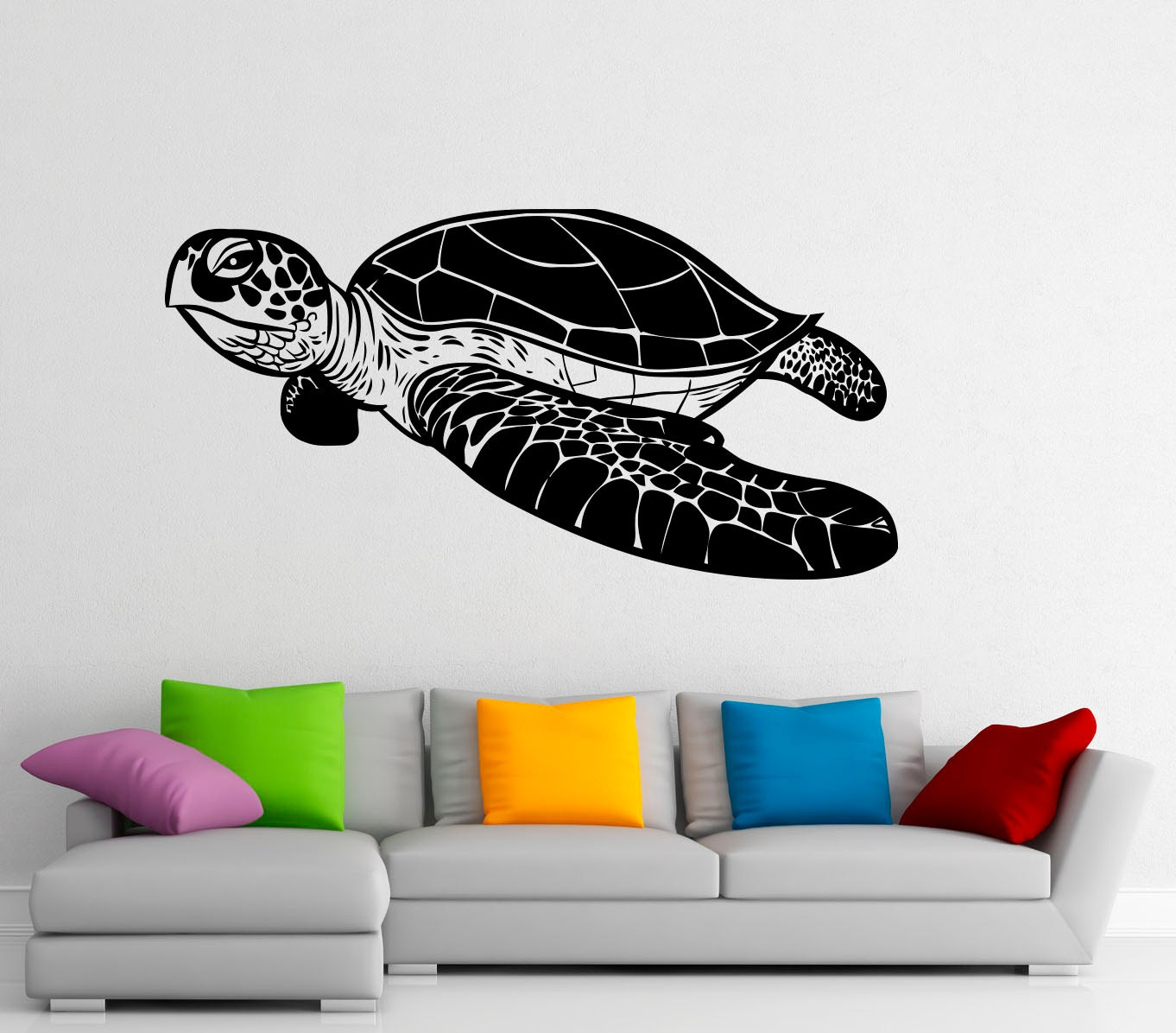 sea turtle wall decal vinyl stickers sea animals home interior. Black Bedroom Furniture Sets. Home Design Ideas