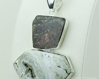 3.8 Inch GENUINE CANADIAN AMMOLITE Ocean Jasper 925 S0LID Sterling Silver Pendant + 4mm Snake Chain & Free Worldwide Express Shipping a37
