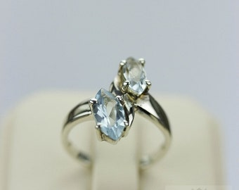 MARQUISE Cut Size 5 SWISS Blue TOPAZ (Nickel Free) 925 Sterling Silver Ring & Free Worldwide Express Shipping r170