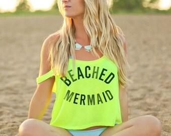 Mermaid Crop Top - Mermaid shirt - Mermaid Clothing - Mermaid Tshirt - Neon Crop Top