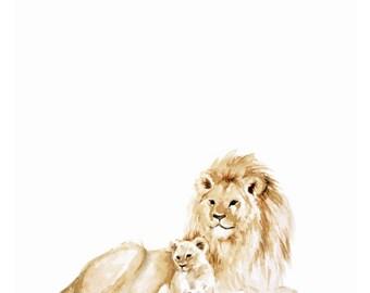 Lion and cub Watercolor Print - Lion art - Lion Painting - Safari Animal - Safari Animal Painting  - baby room art - lion cub - watercolor