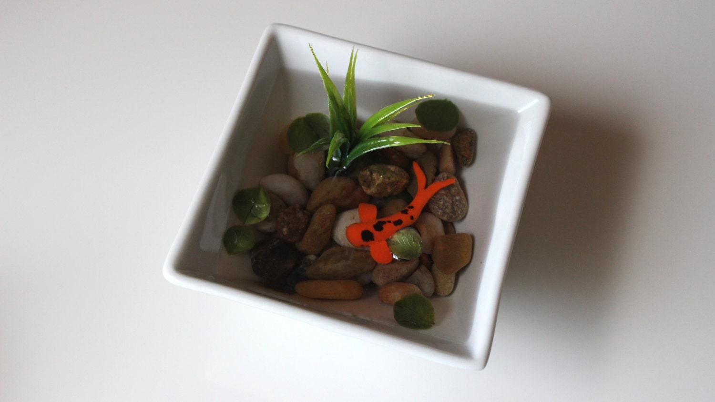 Miniature koi pond in porcelain bowl fake koi pond polymer for Artificial koi fish for ponds
